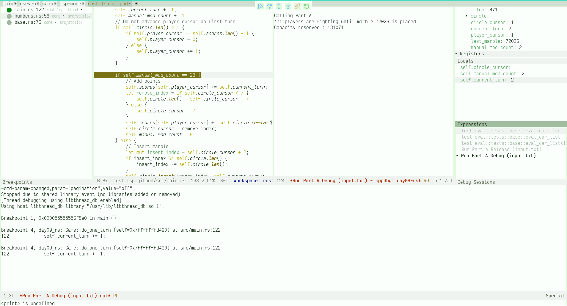 Figure 1: Debugging session for Rust using dap-mode (with dap-cpptools)